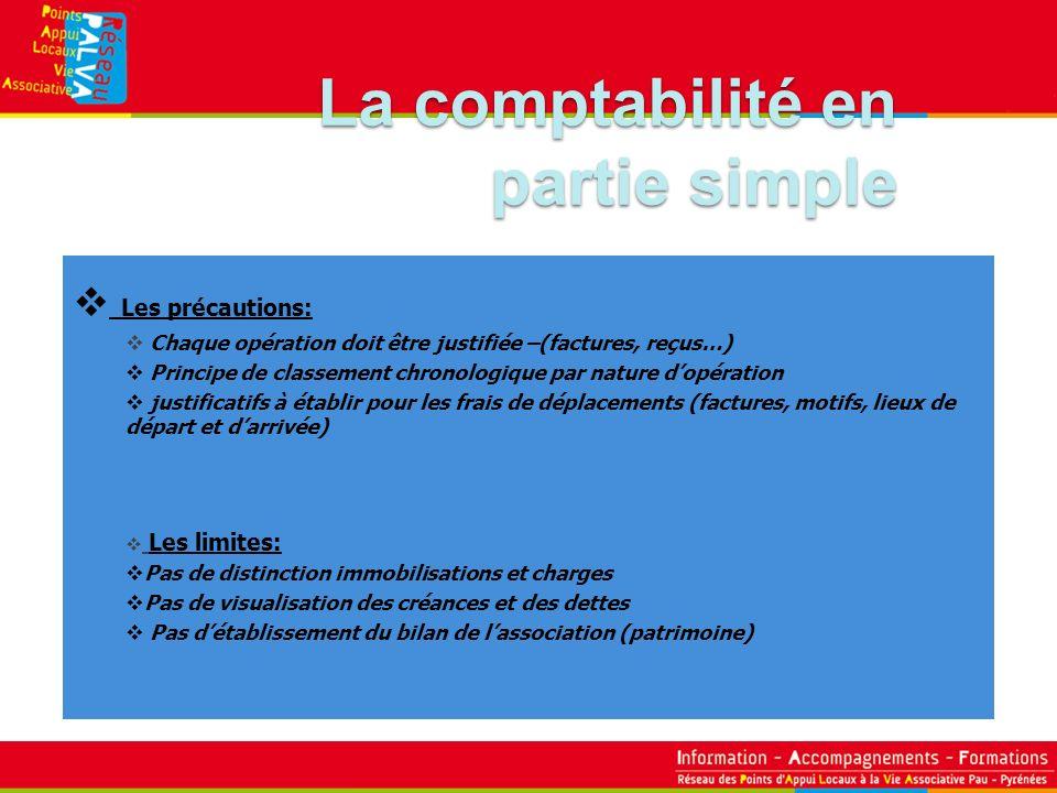 La comptabilité en partie simple Les précautions: Les limites: