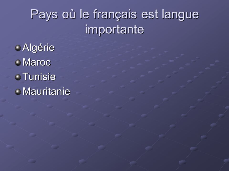 Pays où le français est langue importante