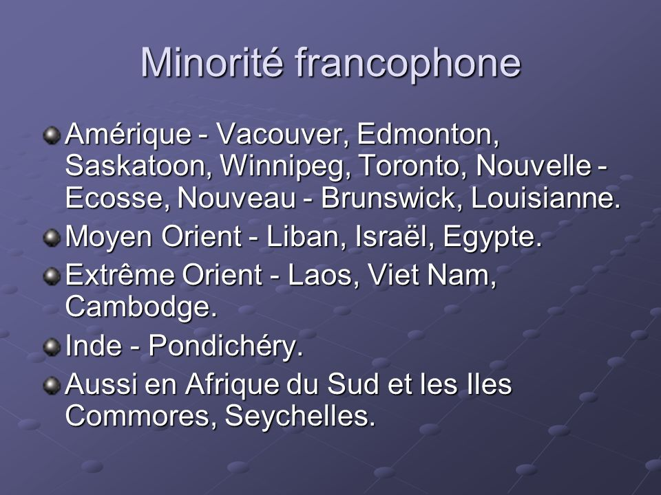 Minorité francophone Amérique - Vacouver, Edmonton, Saskatoon, Winnipeg, Toronto, Nouvelle - Ecosse, Nouveau - Brunswick, Louisianne.