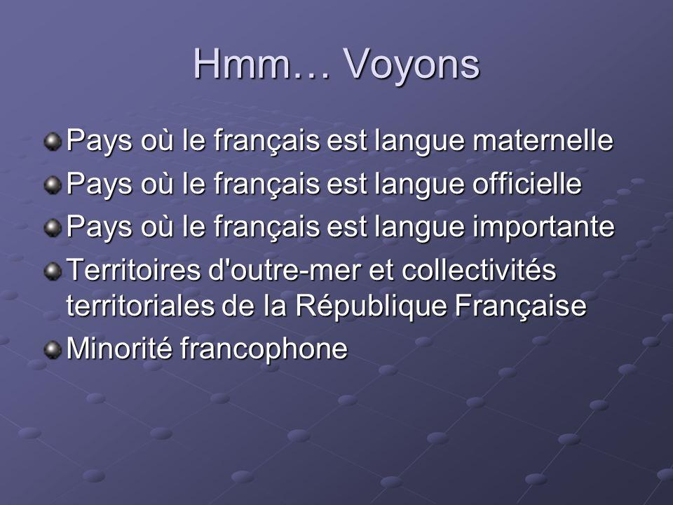 Hmm… Voyons Pays où le français est langue maternelle