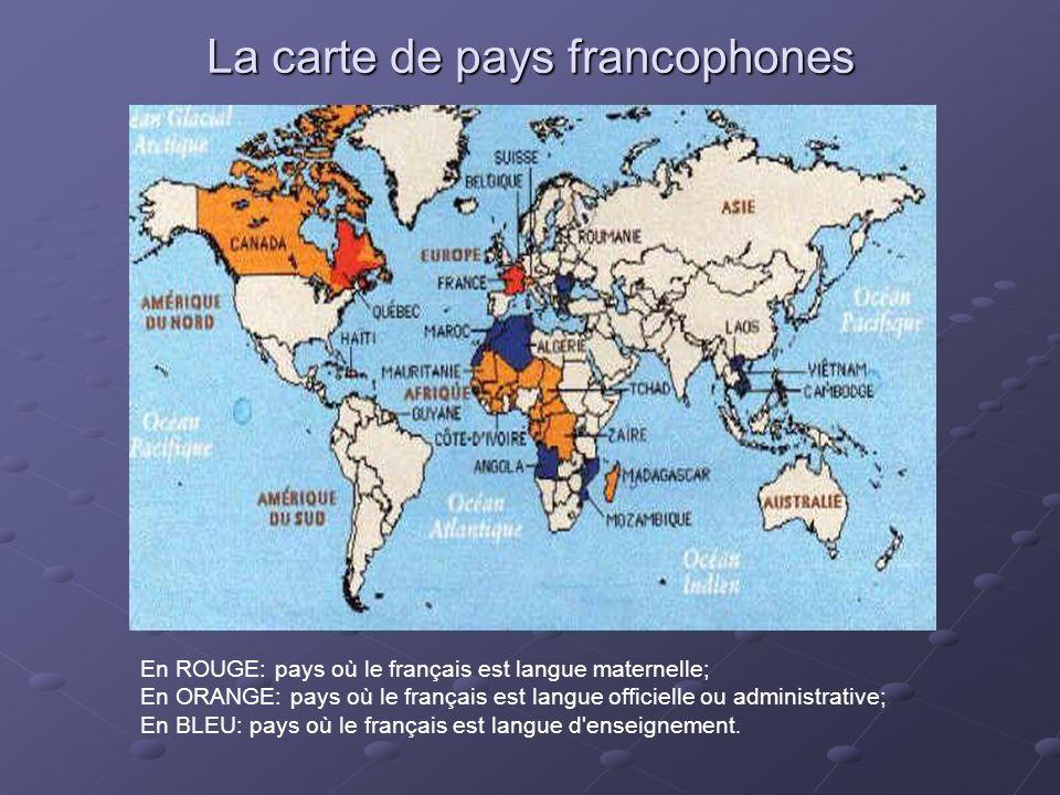 La carte de pays francophones