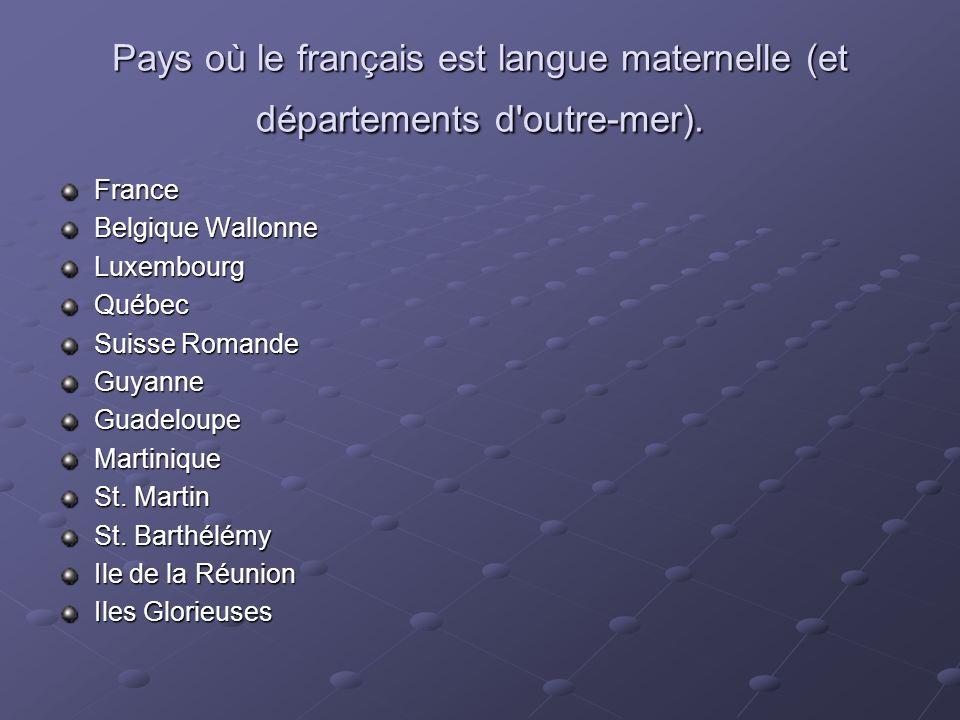Pays où le français est langue maternelle (et départements d outre-mer).
