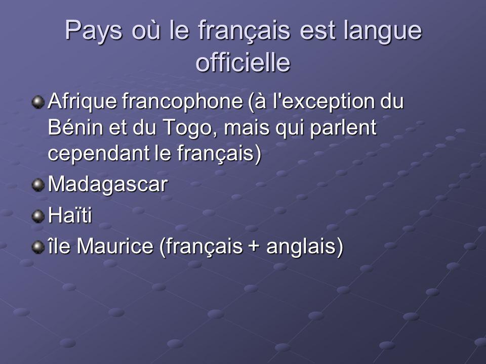 Pays où le français est langue officielle