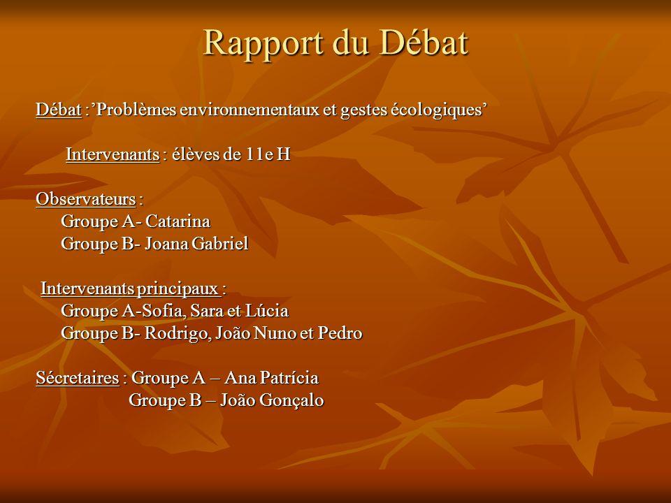 Rapport du Débat Débat :'Problèmes environnementaux et gestes écologiques' Intervenants : élèves de 11e H.