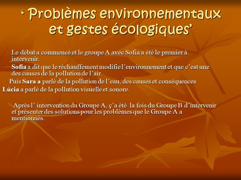 ' Problèmes environnementaux et gestes écologiques'