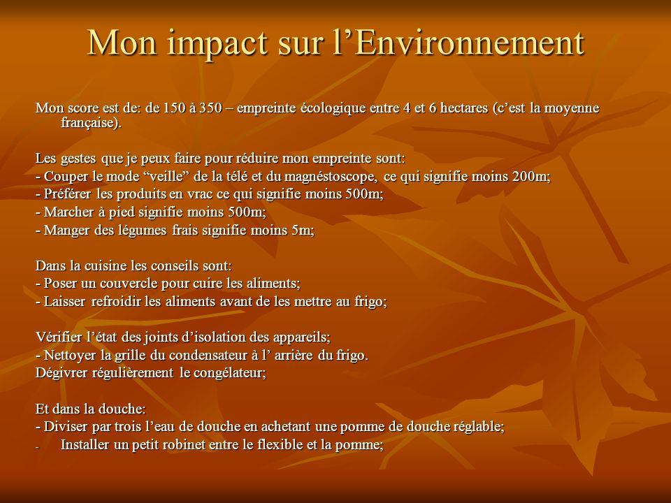 Mon impact sur l'Environnement