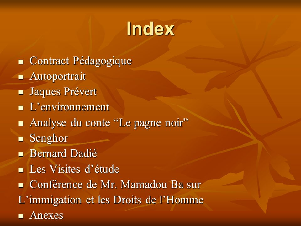 Index Contract Pédagogique Autoportrait Jaques Prévert L'environnement