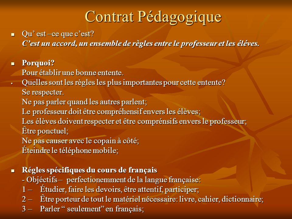 Contrat Pédagogique Qu' est –ce que c'est
