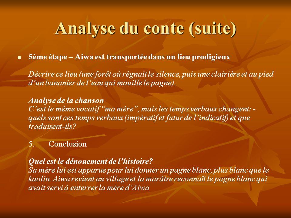 Analyse du conte (suite)
