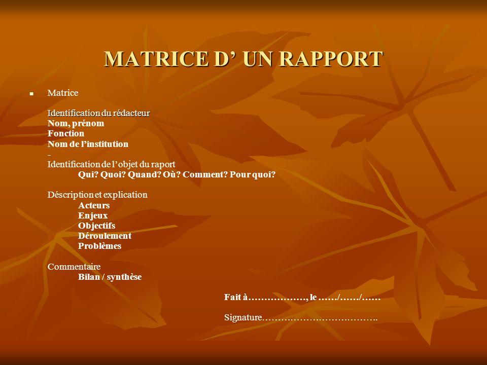 MATRICE D' UN RAPPORT