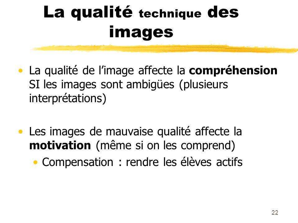 La qualité technique des images