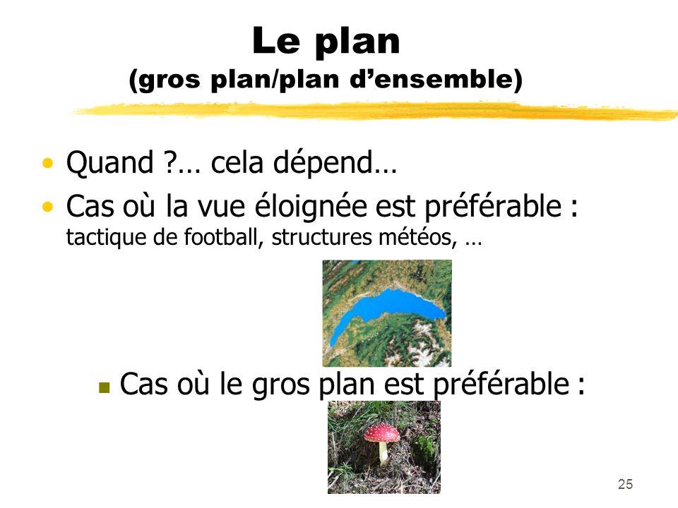Le plan (gros plan/plan d'ensemble)