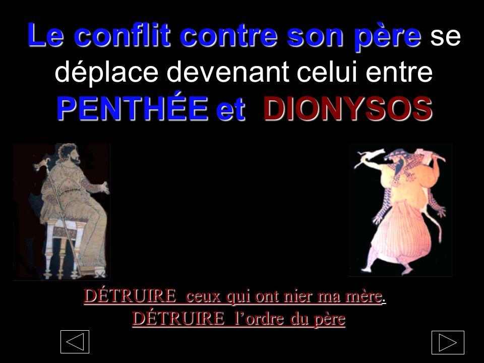 Le conflit contre son père se déplace devenant celui entre PENTHÉE et DIONYSOS