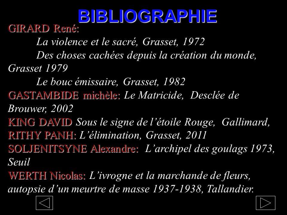BIBLIOGRAPHIE GIRARD René: La violence et le sacré, Grasset, 1972