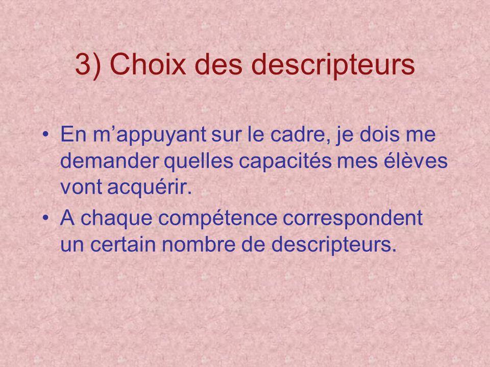 3) Choix des descripteurs