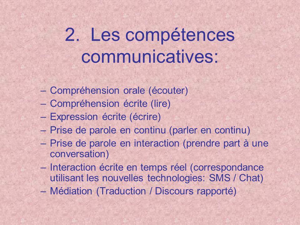 2. Les compétences communicatives: