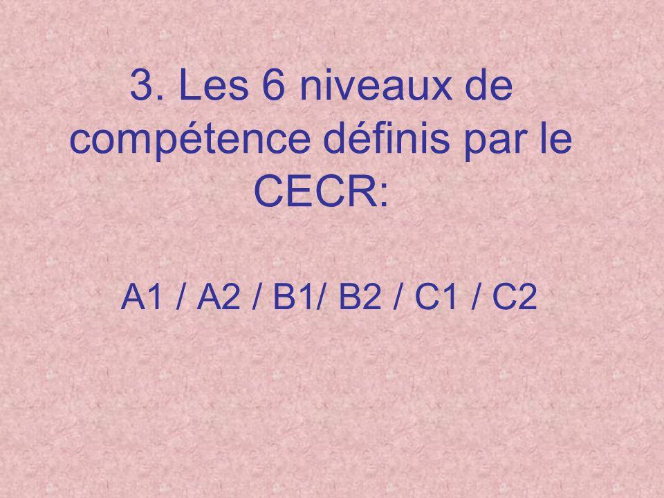 3. Les 6 niveaux de compétence définis par le CECR: