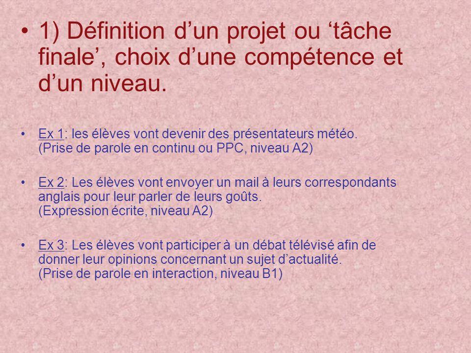 1) Définition d'un projet ou 'tâche finale', choix d'une compétence et d'un niveau.