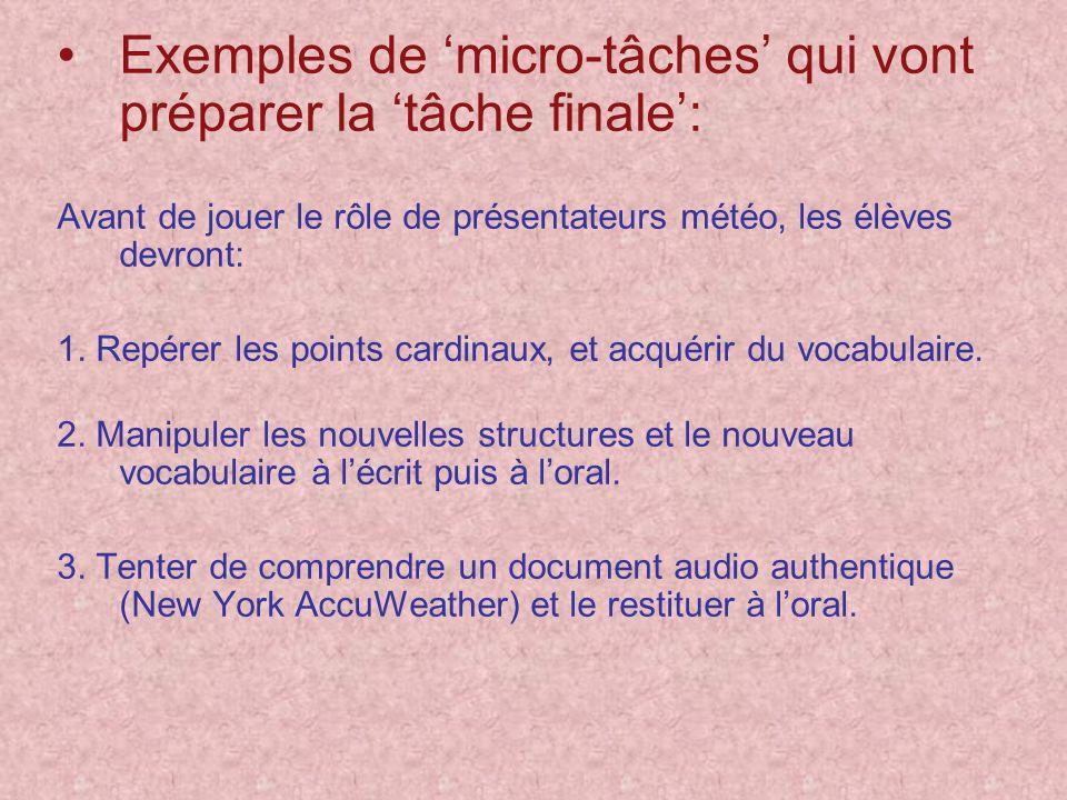 Exemples de 'micro-tâches' qui vont préparer la 'tâche finale':