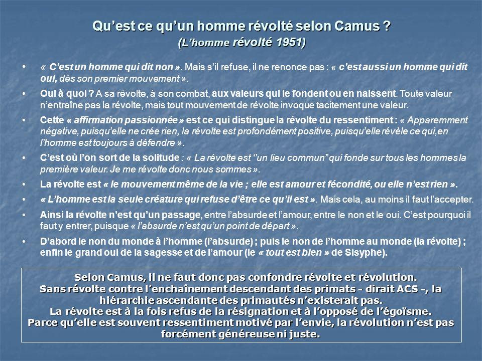 Qu'est ce qu'un homme révolté selon Camus (L'homme révolté 1951)