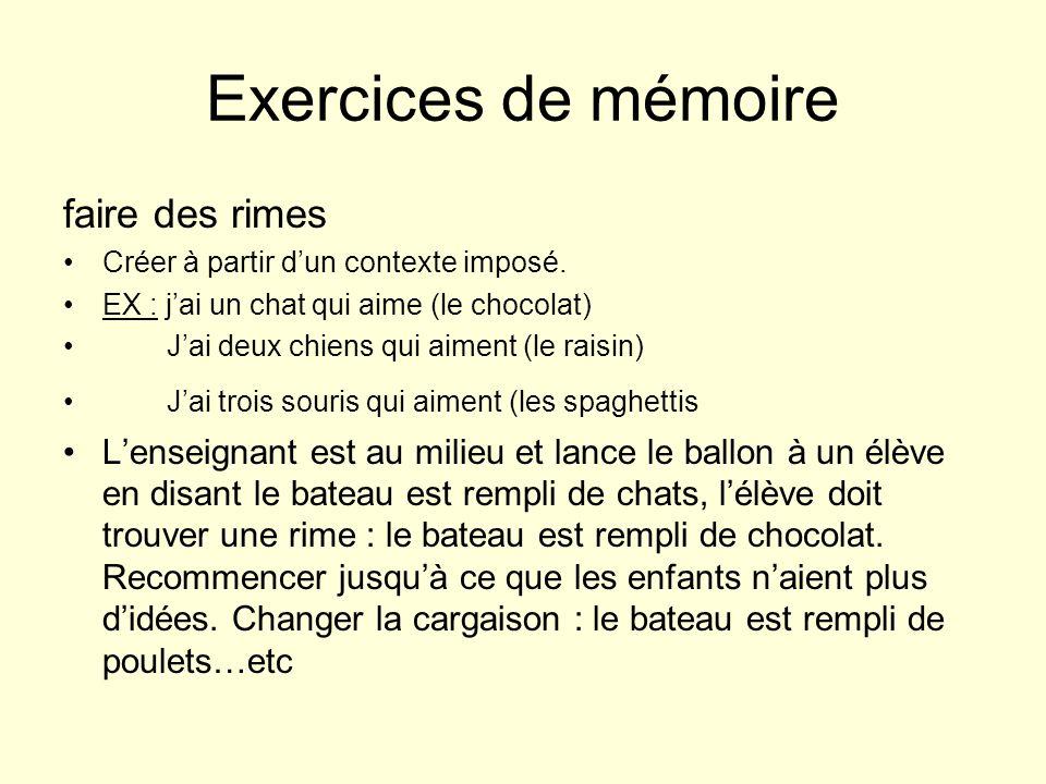 Exercices de mémoire faire des rimes