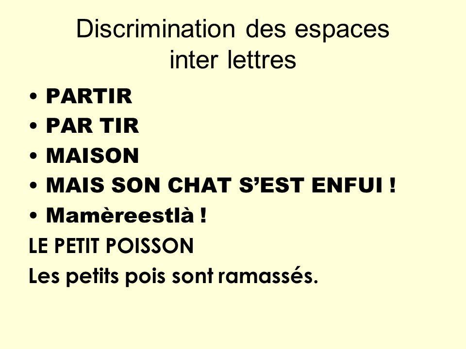 Discrimination des espaces inter lettres