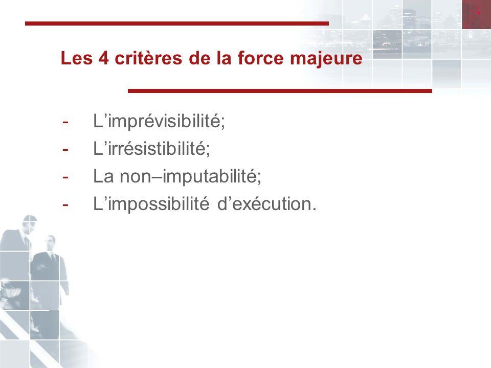 Les 4 critères de la force majeure