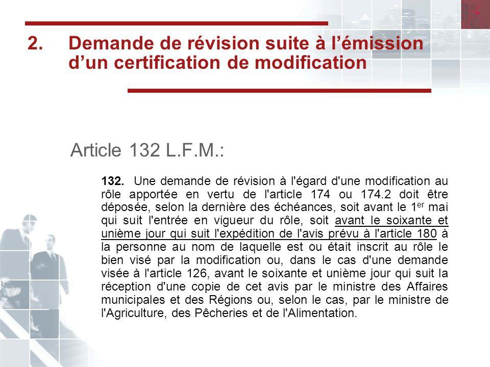 2. Demande de révision suite à l'émission d'un certification de modification