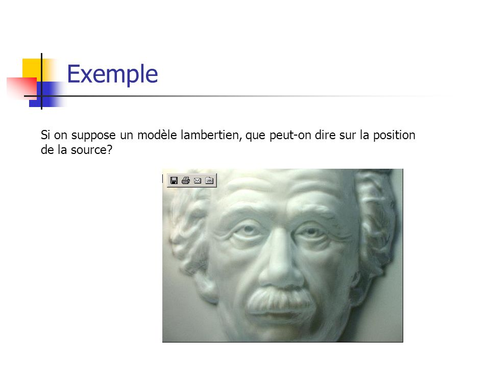 Exemple Si on suppose un modèle lambertien, que peut-on dire sur la position de la source