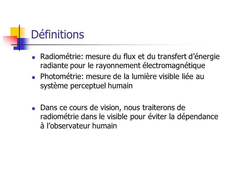 Définitions Radiométrie: mesure du flux et du transfert d'énergie radiante pour le rayonnement électromagnétique.