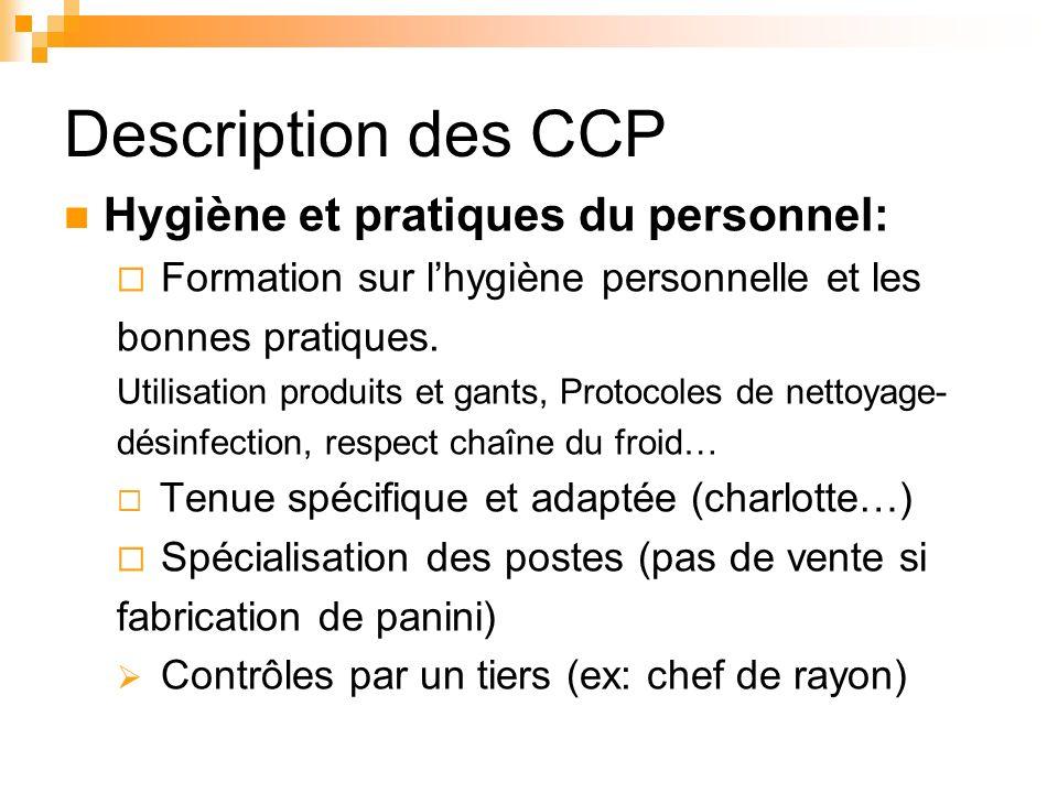 Description des CCP Hygiène et pratiques du personnel: