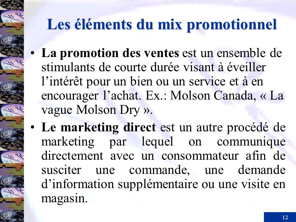 Les éléments du mix promotionnel