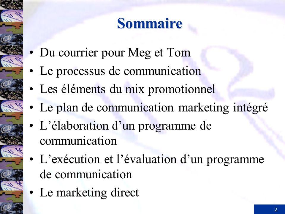Sommaire Du courrier pour Meg et Tom Le processus de communication