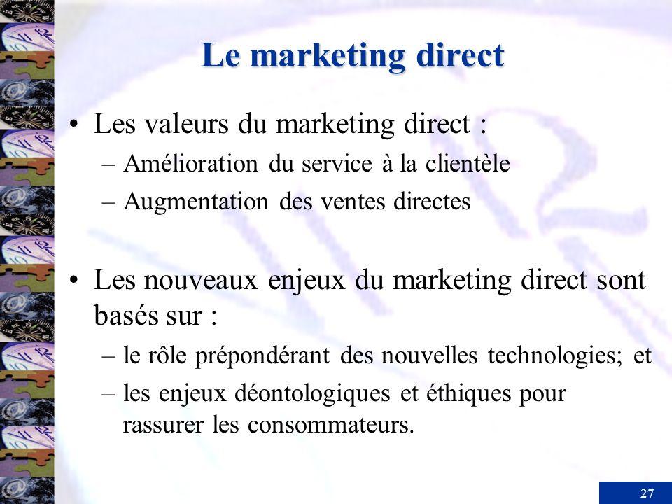 Le marketing direct Les valeurs du marketing direct :