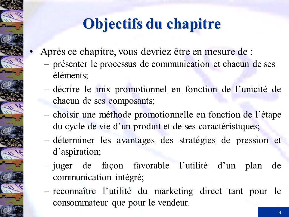Objectifs du chapitre Après ce chapitre, vous devriez être en mesure de : présenter le processus de communication et chacun de ses éléments;