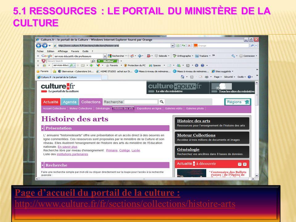 5.1 Ressources : le portail du ministère de la culture
