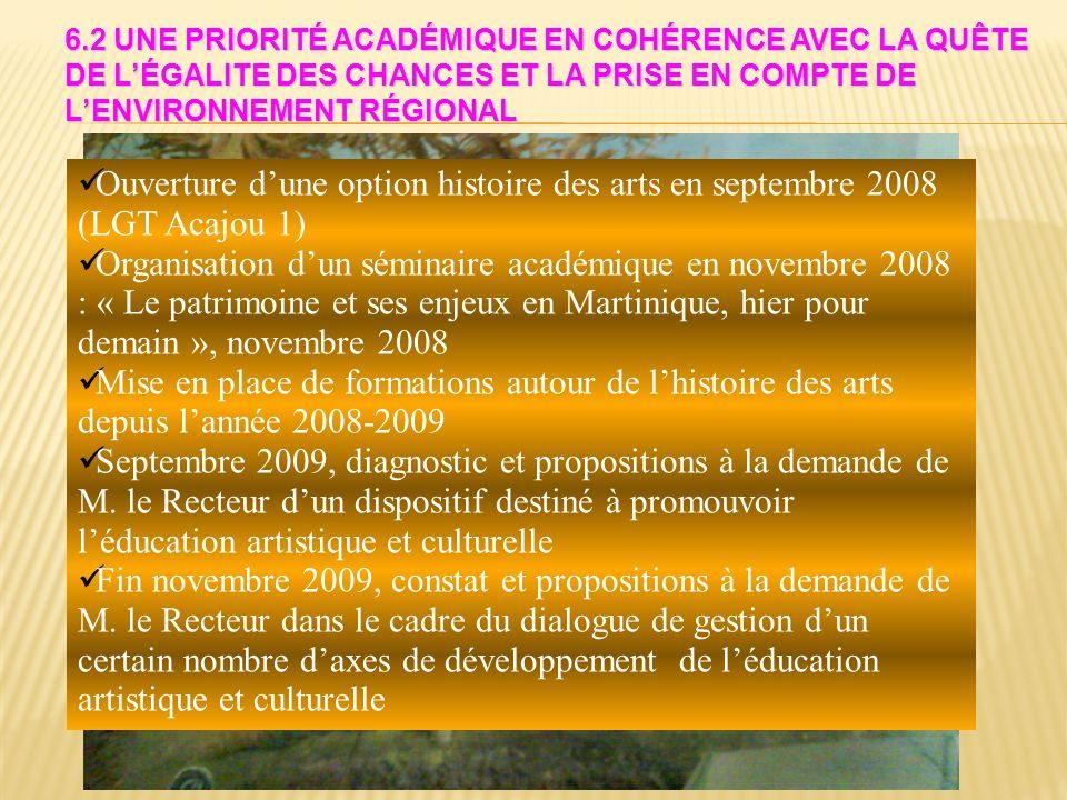 6.2 Une priorité académique en cohérence avec la quête de l'égalite des chances et la prise en compte de l'environnement régional