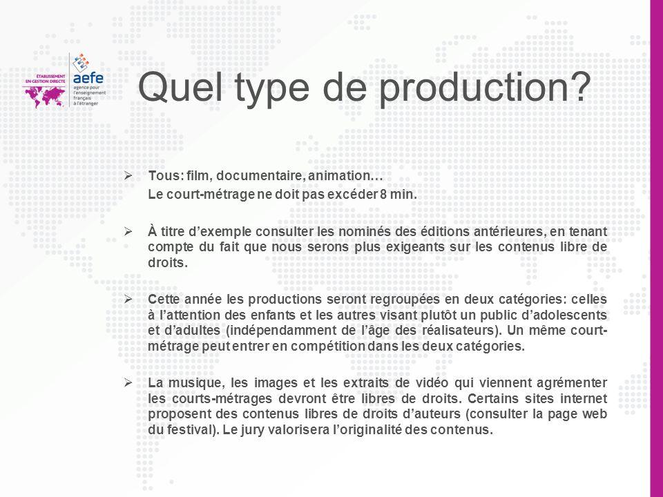 Quel type de production