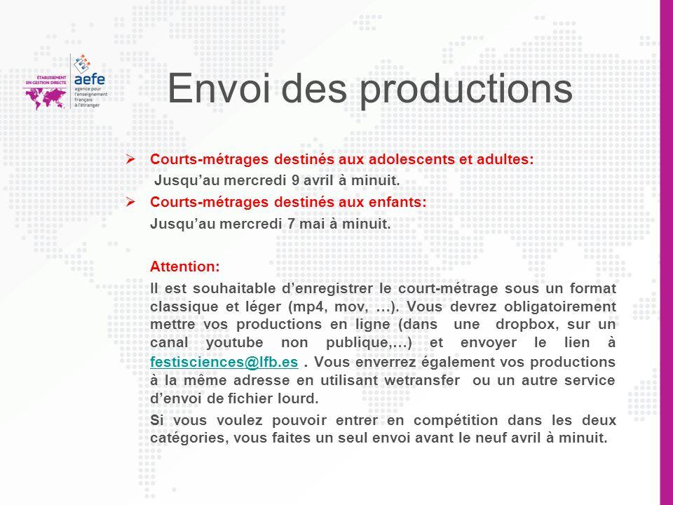 Envoi des productions Courts-métrages destinés aux adolescents et adultes: Jusqu'au mercredi 9 avril à minuit.