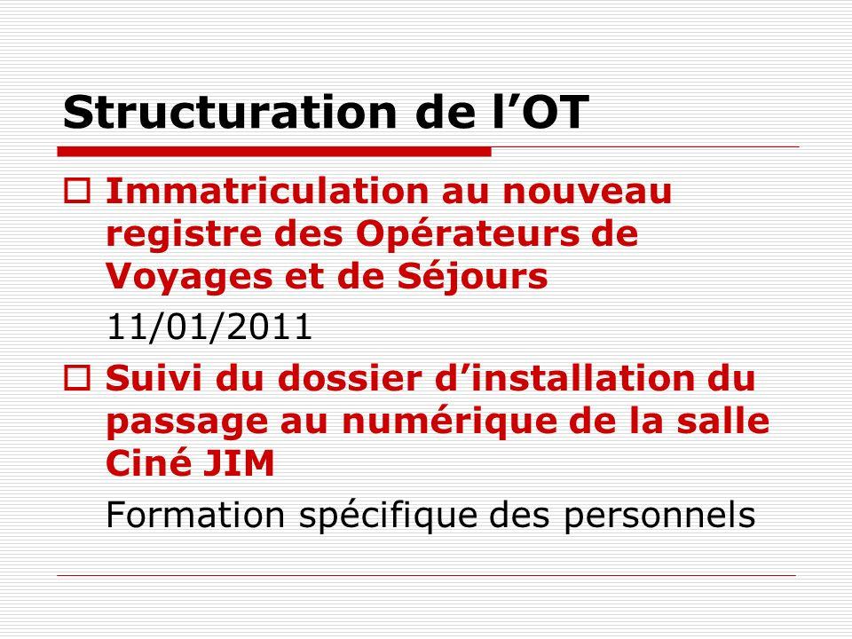 Structuration de l'OT Immatriculation au nouveau registre des Opérateurs de Voyages et de Séjours. 11/01/2011.