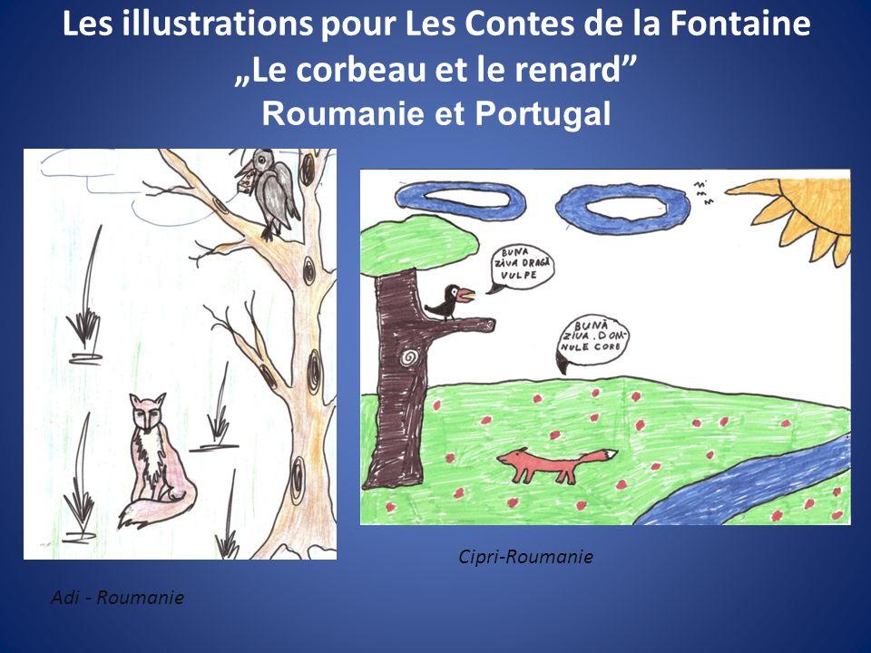 """Les illustrations pour Les Contes de la Fontaine """"Le corbeau et le renard Roumanie et Portugal"""