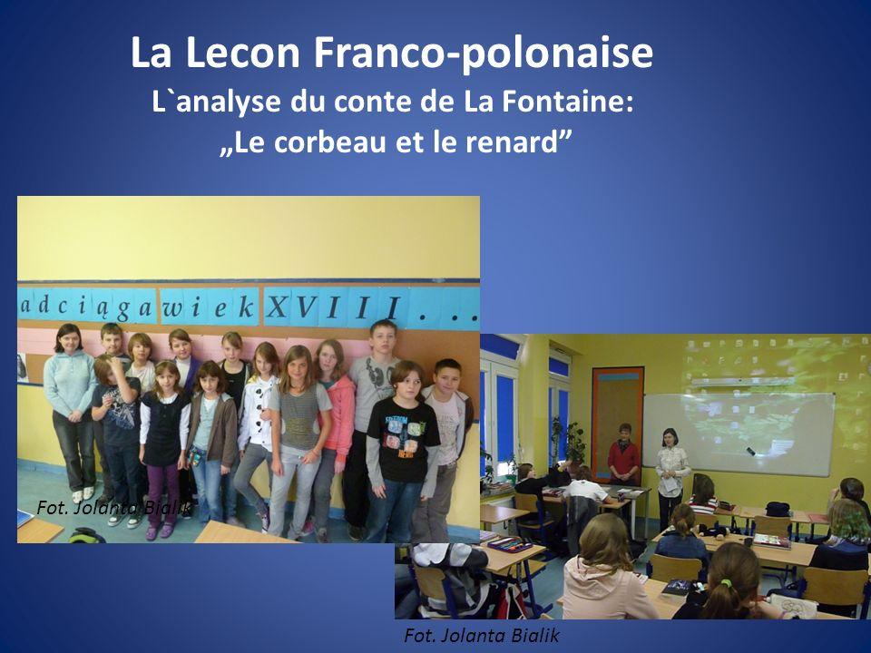 """La Lecon Franco-polonaise L`analyse du conte de La Fontaine: """"Le corbeau et le renard"""