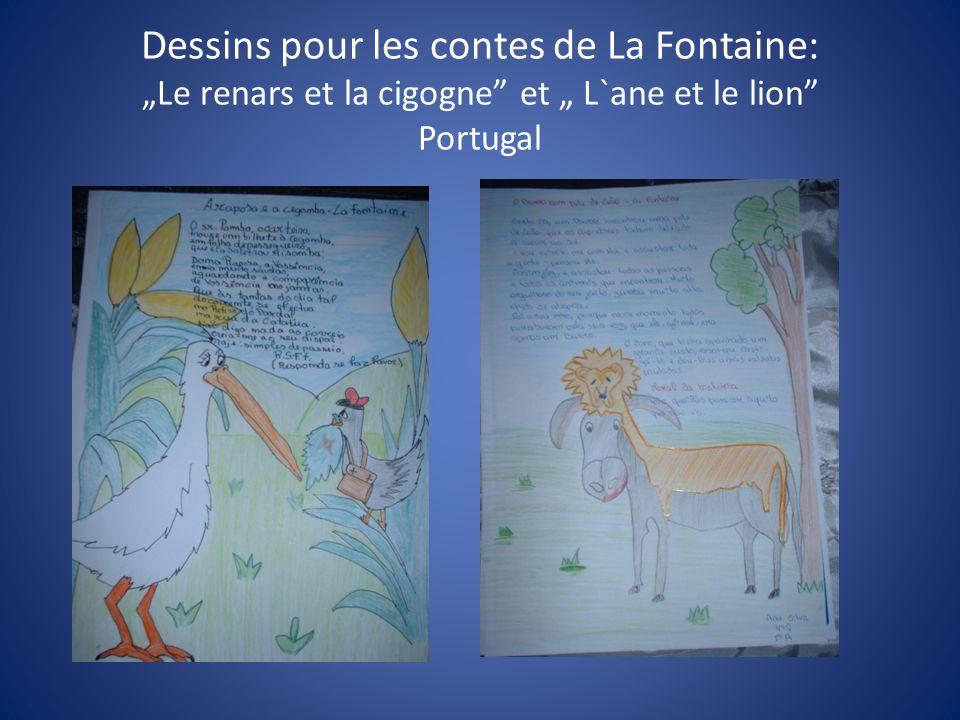 """Dessins pour les contes de La Fontaine: """"Le renars et la cigogne et """" L`ane et le lion Portugal"""
