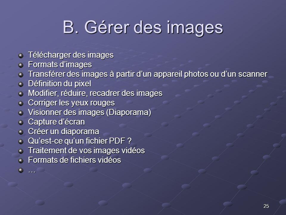 B. Gérer des images Télécharger des images Formats d'images