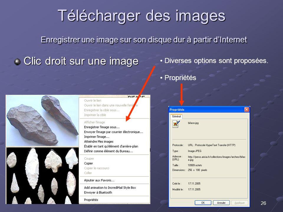 Télécharger des images Enregistrer une image sur son disque dur à partir d'Internet