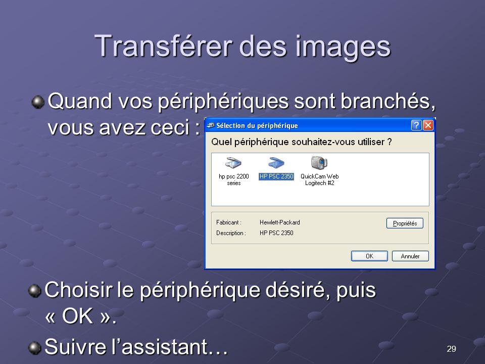 Transférer des images Quand vos périphériques sont branchés, vous avez ceci : Choisir le périphérique désiré, puis « OK ».
