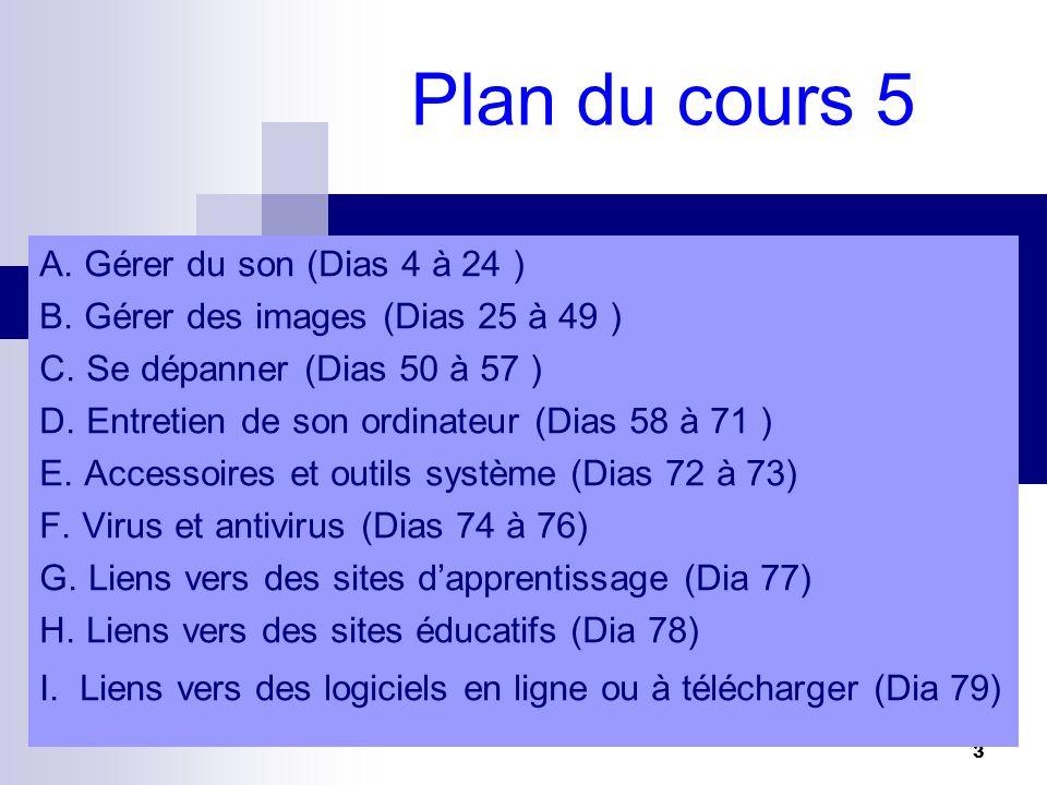 Plan du cours 5 A. Gérer du son (Dias 4 à 24 )