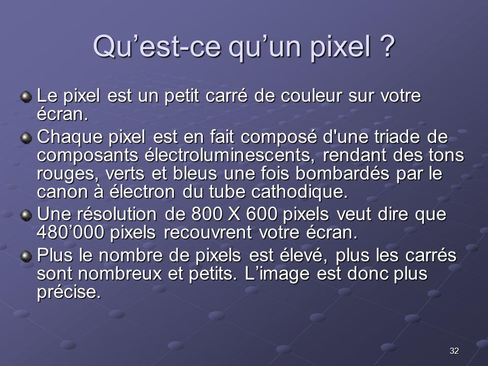Qu'est-ce qu'un pixel Le pixel est un petit carré de couleur sur votre écran.