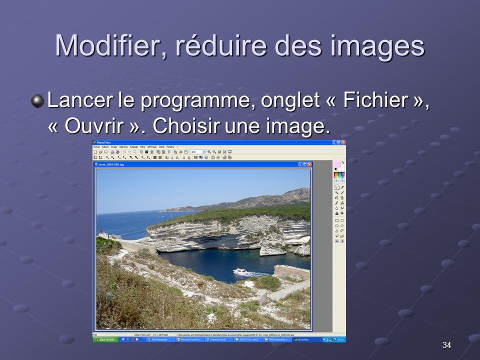 Modifier, réduire des images