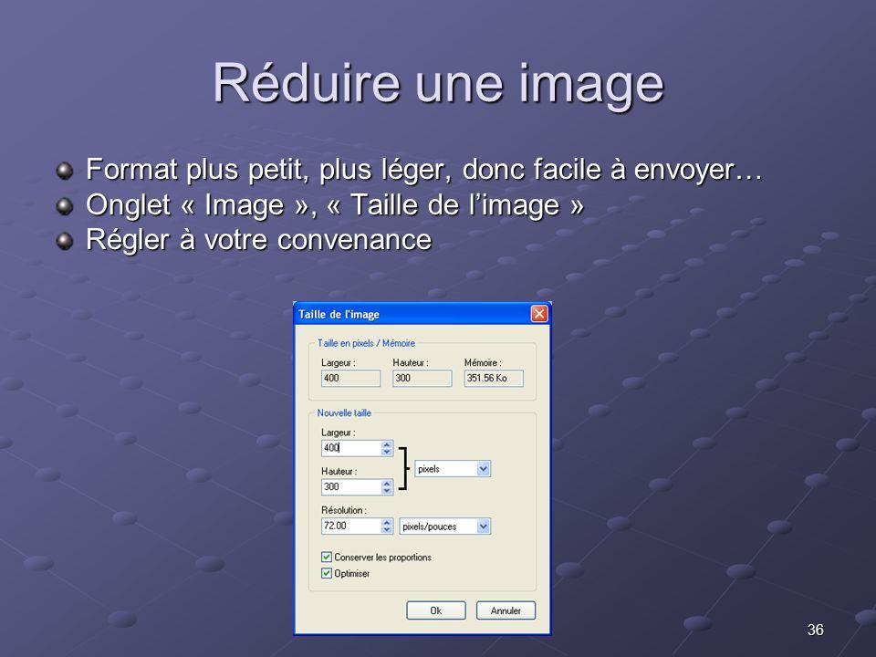 Réduire une image Format plus petit, plus léger, donc facile à envoyer… Onglet « Image », « Taille de l'image »